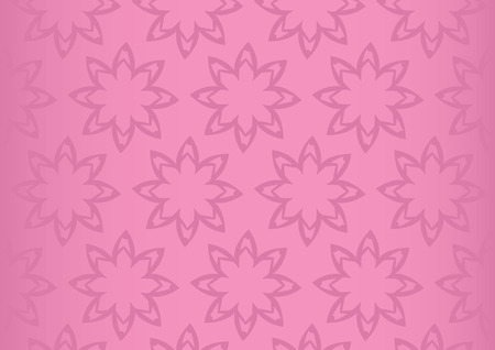 repetition: Vector background with repetition of simple flower pattern design on pink background with fade off gradient at the sides.