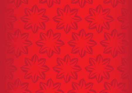 repetition: Vector background with repetition of simple flower pattern design on red background with fade off gradient at the sides.