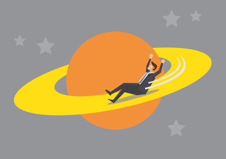 planetary: Business executive in suit having fun playing slide planetary ring on planet in outer space. Universal is the limit concept vector illustration. Illustration