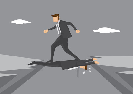 stepping: Ruthless business executive puts colleague in dangerous position and steps on him to get to other side. Conceptual vector illustration for workplace and office politics.