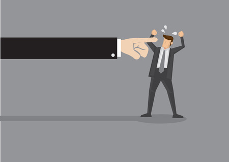 manipulate: Huge arm from the side pointing index finger at angry business executive. Vector illustration for idiom finger pointing