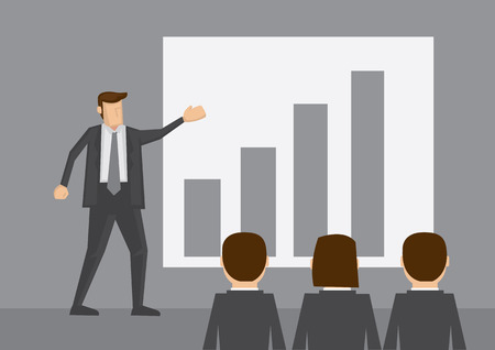 listeners: Businessman standing in front of bar chart do presentation to other business people. Cartoon vector illustration isolated on grey background.