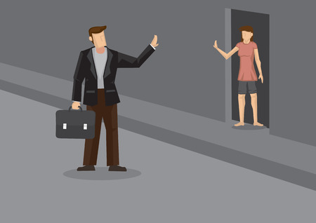 Cartoon business executive leaving home for work and waving good bye to wife standing at doorway. Vector illustration on small acts of love in everyday life for married couple. Çizim