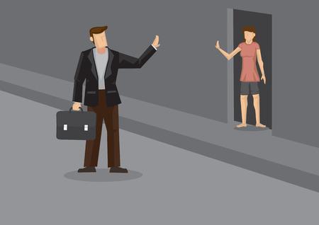 personas saludando: Ejecutivo de negocios de dibujos animados de salir de casa para el trabajo y agitando adiós a la mujer de pie en puerta. Ilustración del vector en pequeños actos de amor en la vida cotidiana para la pareja casada. Vectores