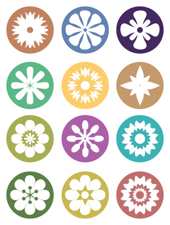 focal point: Set of vector illustration of flower silhouette in white on colored circles isolated on white background. Illustration