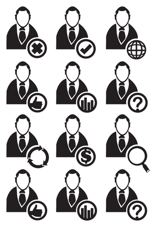 bust up: Black and white vector illustration of faceless businessman web icon with conceptual symbols in circles isolated on white background.