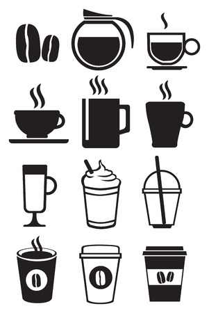 whip cream: Vector illustration of coffee beverage icon set isolated on white background.