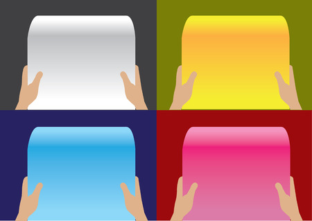 newspaper roll: Set of four vector layout design templates with illustrations of two hands holding blank paper scroll in reading position against different colored background.