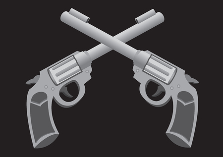 formation: Monotone vector illustration of two retro revolvers in cross formation isolated on black background.