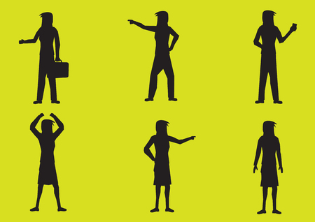 commanding: Set of six vector illustrations of silhouettes of woman cartoon character in various gestures in black isolated on fluorescent lemon-lime color  background. Illustration