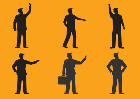 personas saludando: Conjunto de seis ilustraciones de vectores de la silueta del hombre de negocios en traje en diferentes gestos aislados en el fondo de color naranja brillante.
