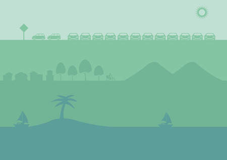 car park: Set of three landscape silhouette vector illustration for banner or website background with urban car park, countryside and tropical beach themes in different shades of green.
