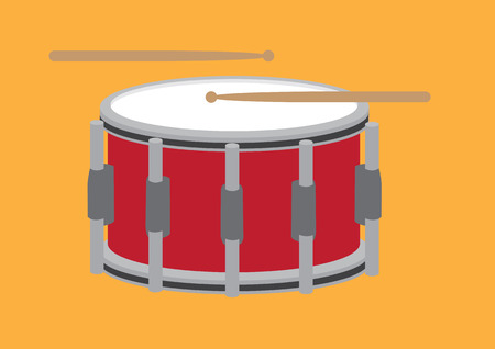 strikken: Vector illustration of snare drum and two drum sticks isolated on orange background.