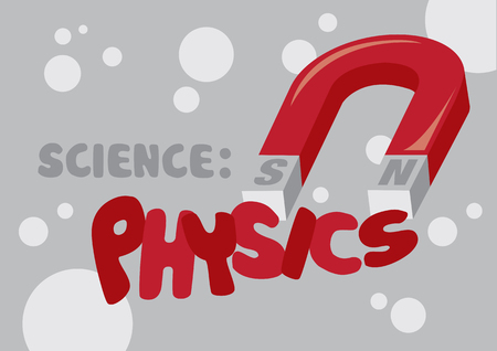 tertiary: Vector illustration of red horseshoe magnet with text Science Physics and circle pattern background. Illustration