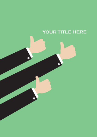 Simple vector layout design in green with three arms in thumbs up gestures with copy space.