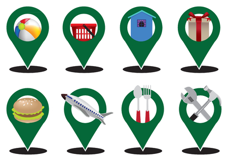 conceptual map: Set of eight map marker icons with conceptual symbols as web button designs for internet business in service industry isolated on white background. Vectores