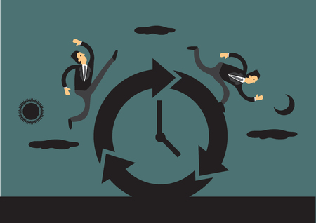 Businessmen racing against time around a clock with sun and moon in the background representing day and night. Creative vector illustration for business and time concept.
