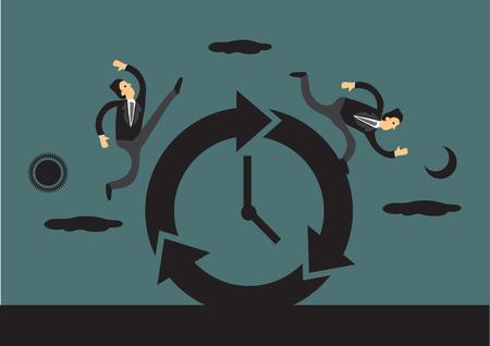 Los hombres de negocios en una carrera contra el tiempo en torno a un reloj de sol y de la luna en el fondo que representa día y la noche. ilustración vectorial creativa por concepto de negocio y el tiempo. Foto de archivo - 48970388
