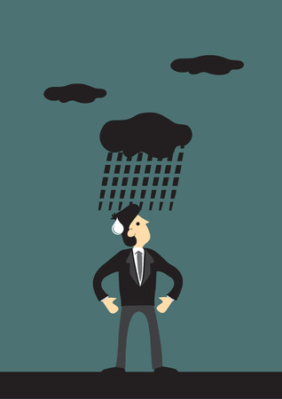miserable: Annoyed man in business suit looking up at dark cloud raining on him. Creative conceptual vector cartoon illustration for bad luck or unlucky.