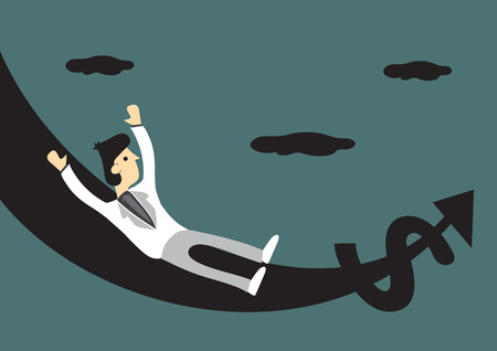 turning point: Cartoon man in white suit riding on upswing slide with money and arrow symbol at the end. Creative vector illustration for financial investment and monetary concept.