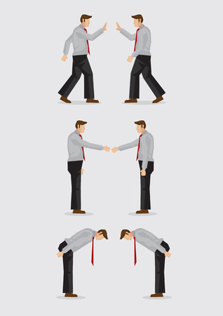 Three sets of vector illustration showing the different social gestures of greeting for different cultures, including, waving, handshake and bowing isolated on plain background. Illustration