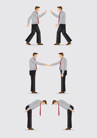 respeto: Tres conjuntos de ilustración vectorial que muestran los diferentes gestos sociales de saludo para las diferentes culturas, incluyendo, agitar, apretón de manos e inclinando aisladas en fondo llano. Vectores