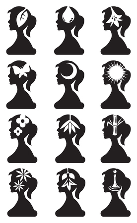 woman side view: Side view silhouette of woman with conceptual symbols for nature elements and beauty. Black and white vector icon set isolated on white background.
