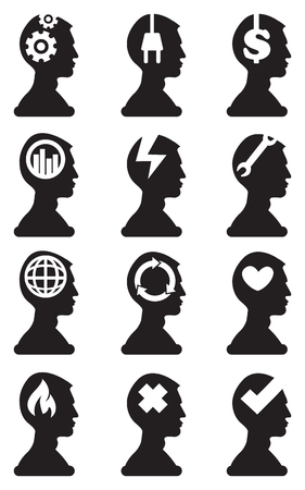 man side view: Black and white vector illustrations of man silhouette in side view with conceptual symbols in his head isolated on white background. Illustration