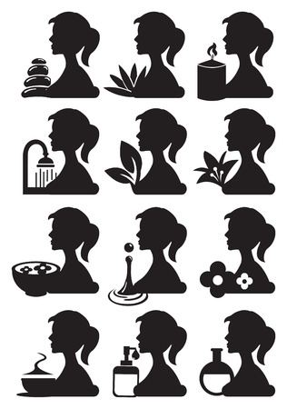 stacked stones: Drawing of girl silhouette in profile view with spa treatment related icons. Black and white lifestyle vector icon set isolated on white background