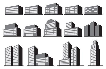 anuncio publicitario: Ilustración vectorial de oficina o edificio comercial bloques en gris monocromática aislada en el fondo blanco.