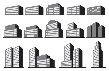 commercials: Vector illustration of office or commercial building blocks in monochromatic grey isolated on white background.