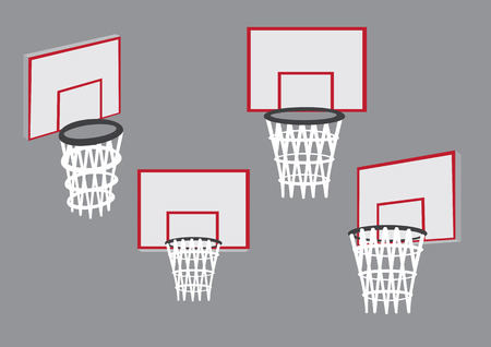 basketball hoop: Basketball hoop and net mounted on backboard in different views. Set of four vector illustrations of baskets for basketball sport isolated on plain grey background. Illustration