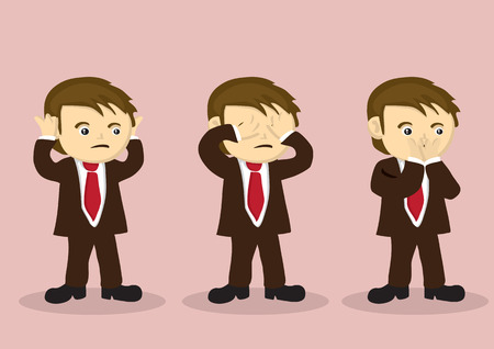 hear: Cartoon boy character in business suit using hands to cover his mouth, eyes and mouth. Vector illustration for metaphor on see no evil, hear no evil, speak no evil. Illustration