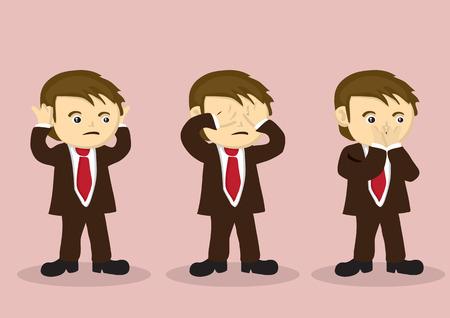 boca: personaje de dibujos animados niño en traje de negocios usando las manos para cubrirse la boca, los ojos y la boca. Ilustración del vector para la metáfora de no ver el mal, no escuchar el mal, no hablar mal.