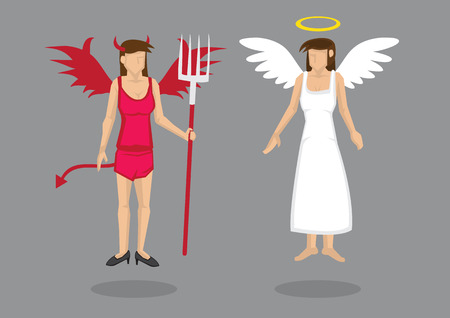 cleavage: Woman wearing red wings, horns, tail and pitch fork as Devil and woman in white long dress, wings and halo as Angel. Vector cartoon character isolated on grey background. Illustration