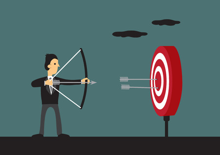 Cartoon man holding bow and arrow aiming at center of target with two arrows on bulls eye. Vector illustration for business goal and success.