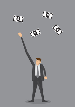 stretch out: Cartoon businessman with stretch out arm to reach high for dollar notes flying in the air. Creative vector illustration for business and money concepts isolated on plain grey background.