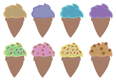 soft serve: Vector cartoon illustration of various flavors ice-cream on cone with toppings isolated on white background. Illustration