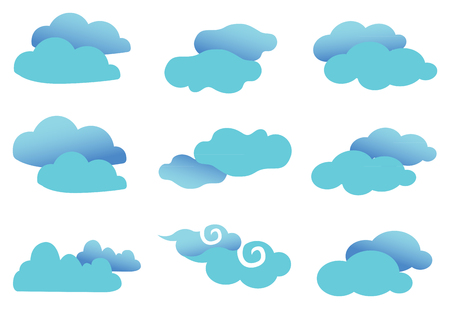 on cloud nine: Set of nine vector illustration of fancy clouds in cyan blue with gradient effect isolated on white background. Illustration