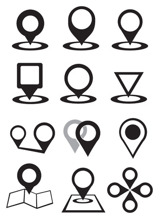 variety: Set of illustration of variety designs of inverted teardrop shape map markers or pointers in black and white isolated on white background.