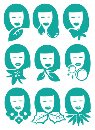 revitalize: Woman face with nature elements symbols. Vector Icon set isolated on white background for natural beauty. Illustration