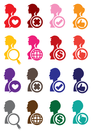woman side view: Round web icons and conceptual symbols on side view of man and woman silhouette isolated on white background. Illustration