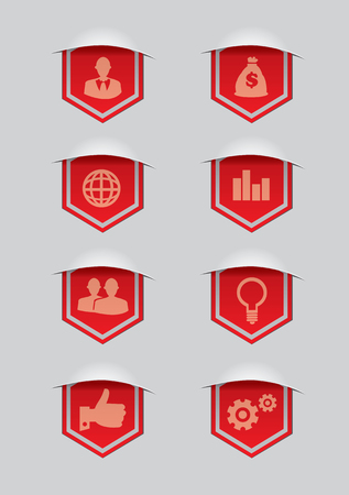 Set of eight vector illustration of red ribbon award banner with conceptual symbols for business isolated on grey background.