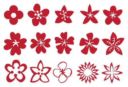 buttercup  decorative: Set of flower vector design elements in red isolated on white background.