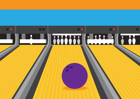 Vibrant colored vector illustration of bowling ball rolling on bowling lane towards pins and pinsetter at the end of alley. Illustration