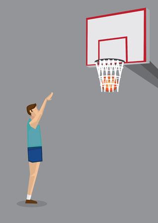 pelota caricatura: Vista lateral de un jugador de baloncesto que se extiende los brazos para tirar de baloncesto en aro. Vector ilustraci�n de dibujos animados sobre el tema del deporte de baloncesto aislados sobre fondo gris.