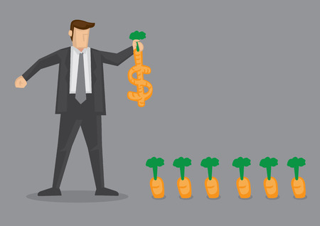 Cartoon businessman pulling out a dollar sign crop from the ground. Creative vector illustration on wordplay of cash crops and wealth concept isolated on grey background. Illustration