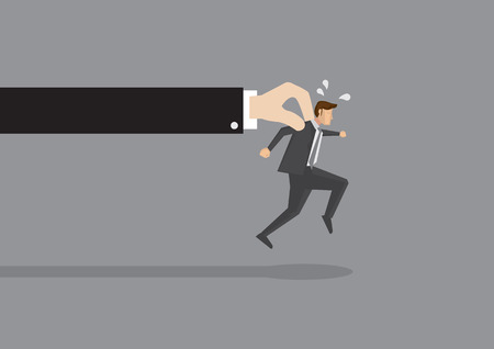 greater: Businessman tries hard to run but a huge hand holds him back. Conceptual vector illustration for getting caught or trying to break free from greater force.