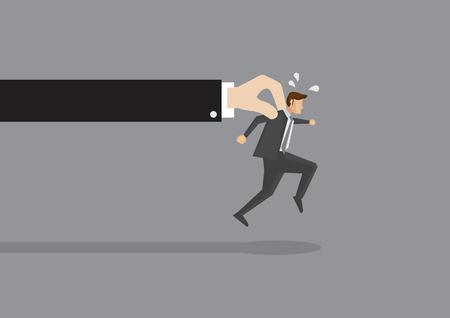 rata caricatura: El hombre de negocios se esfuerza para correr, pero una mano enorme lo detiene. Ilustraci�n vectorial conceptual para conseguir atrapados o tratando de liberarse de mayor fuerza. Vectores