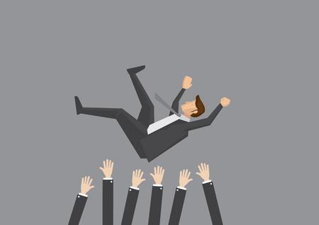 Beliebte Geschäftsmann bekommen in die Luft von Mitarbeitern während der Feier geworfen. Vektor-Illustration für Business-Konzept auf schlichten grauen Hintergrund. Vektorgrafik